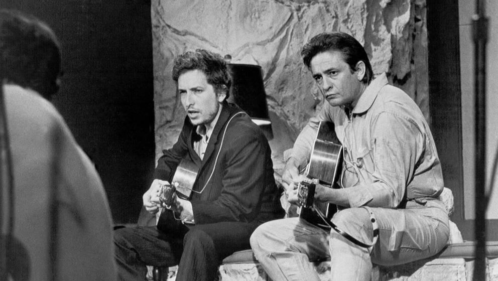 """Bob Dylan und Johnny Cash spielen gemeinsam in der """"Johnny Cash Show"""", 1969"""