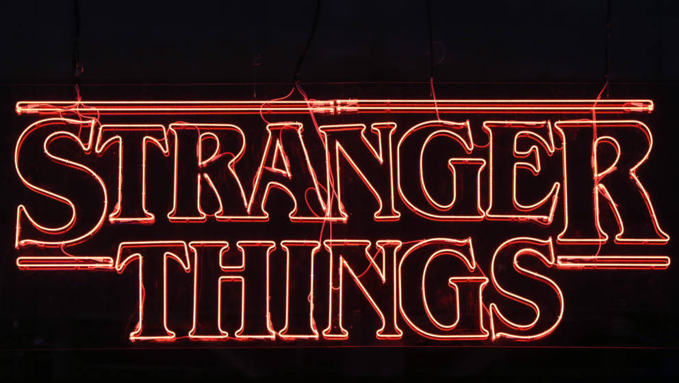 PARIS, FRANCE - OCTOBER 31:  Television series logo 'Stranger Things' is displayed during the 'Paris Games Week' on October 3