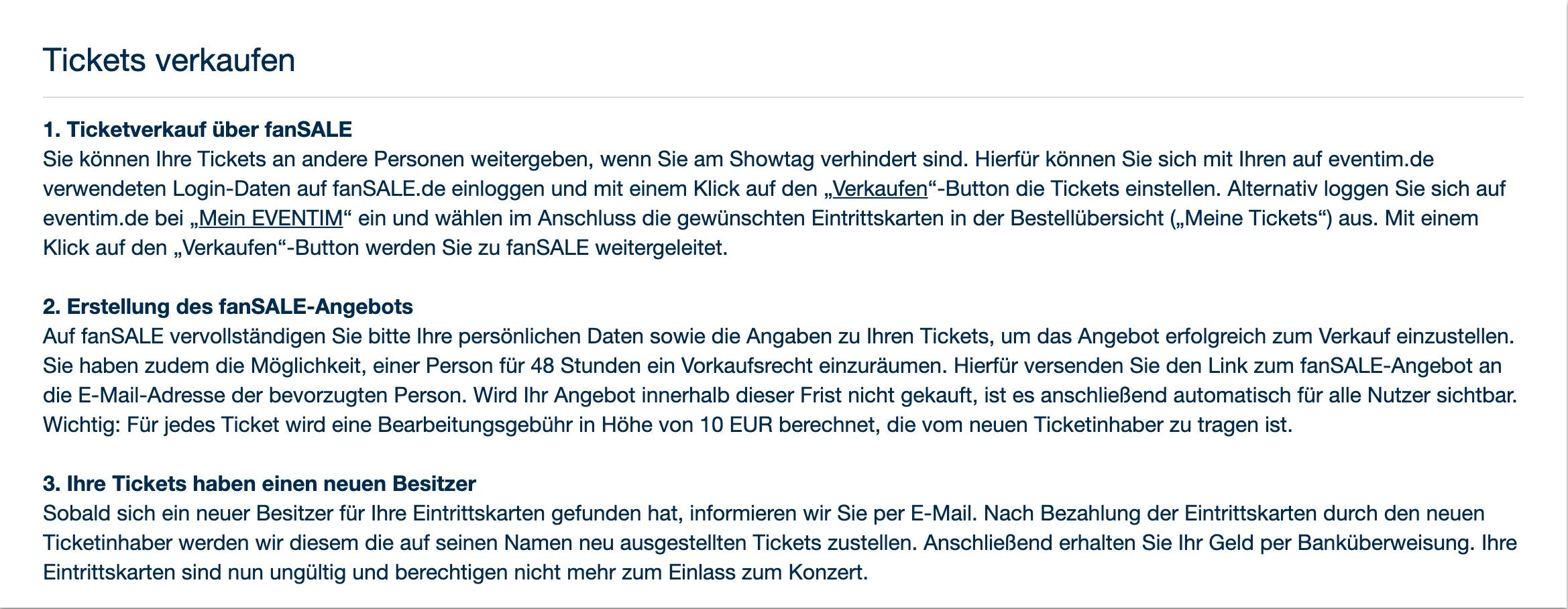 Tickets von Eventim im Fan-Sale verkaufen – so geht's