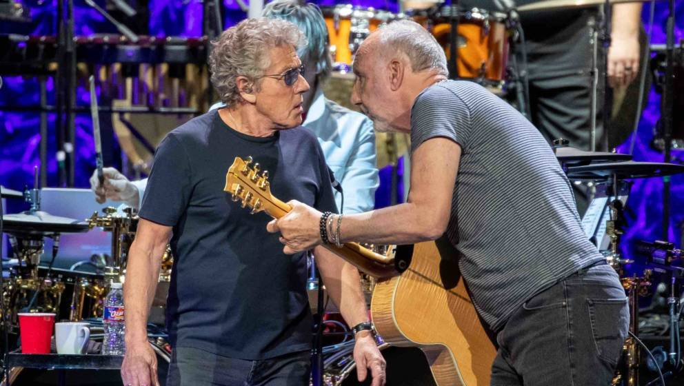Roger Daltrey (L) and Pete Townshend of British rock band 'The Who' performs at the Toyota Center on the second leg of their
