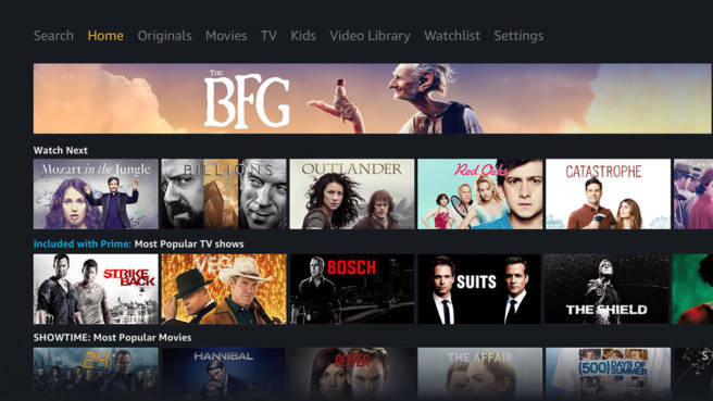 Amazon Prime Video: Screenshot des TV-Interfaces