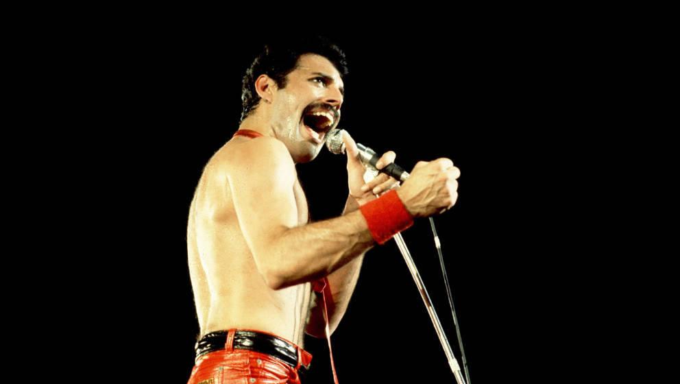 Freddie Mercury of Queen on 9/19/80 in Chicago, Il.  (Photo by Paul Natkin/WireImage)