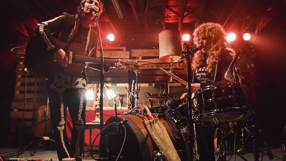 NEW ORLEANS, LA - FEBRUARY 11:  Michael Trent (R) and Cary Ann Hearst of Shovels and Rope perform at Tipitina's on February 1