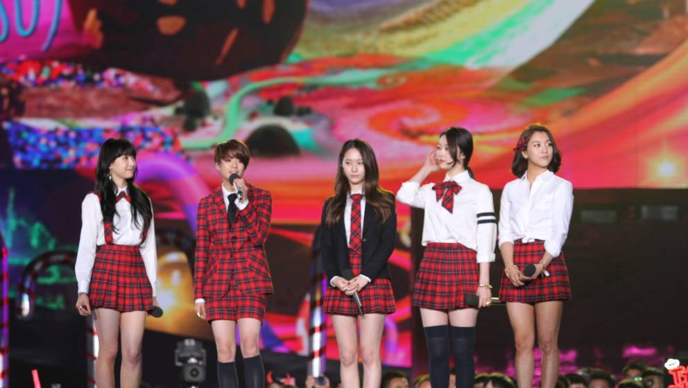 CHANGSHA, CHINA - DECEMBER 31:  (CHINA OUT) Victoria, Amber, Luna, Sulli and Krystal of South Korean girl group f(x) perform