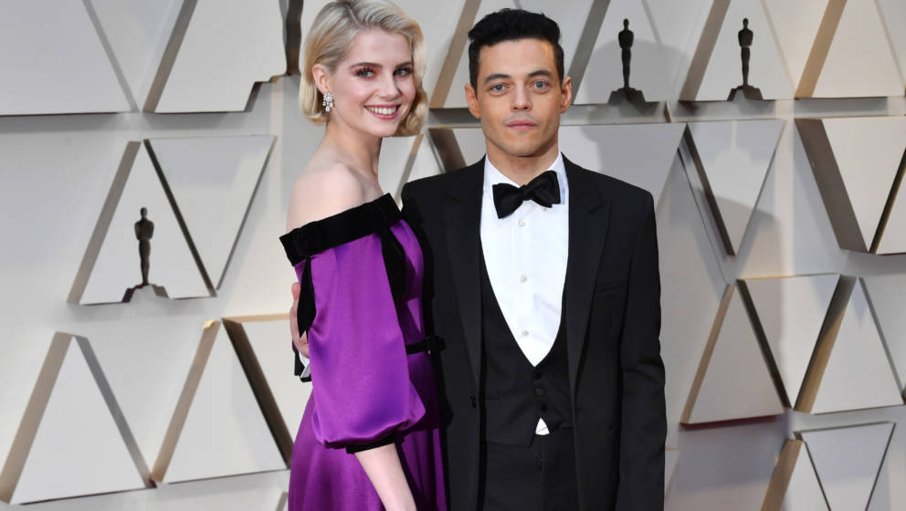 HOLLYWOOD, CA - FEBRUARY 24: (L-R) Lucy Boynton and Rami Malek attends the 91st Annual Academy Awards at Hollywood and Highla