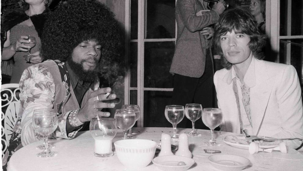 Mick Jagger of the Rolling Stones with Billy Preston (1946 - 2006) at a promotional party for the band's album Goats Head Sou