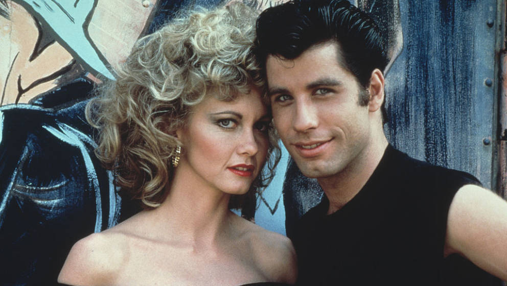Australian singer and actress Olivia Newton-John and American actor John Travolta as they appear in the Paramount film 'Greas