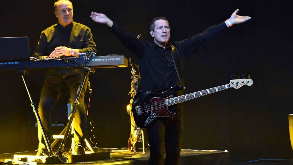 LOS ANGELES, CALIFORNIA - JANUARY 26: Singer Andy McCluskey of Orchestral Manoeuvres in the Dark (OMD) performs onstage durin