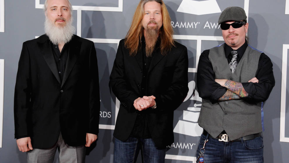 LOS ANGELES, CA - FEBRUARY 10: (L-R) Musicians John Campbell, Chris Adler and Willie Adler of Lamb of God attend the 55th Ann