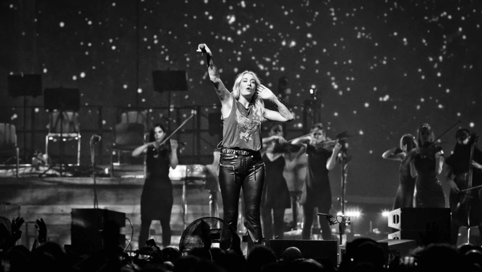 BERLIN, GERMANY - OCTOBER 26: (EDITORS NOTE: Image has been converted to black and white.) German singer Sarah Connor perform