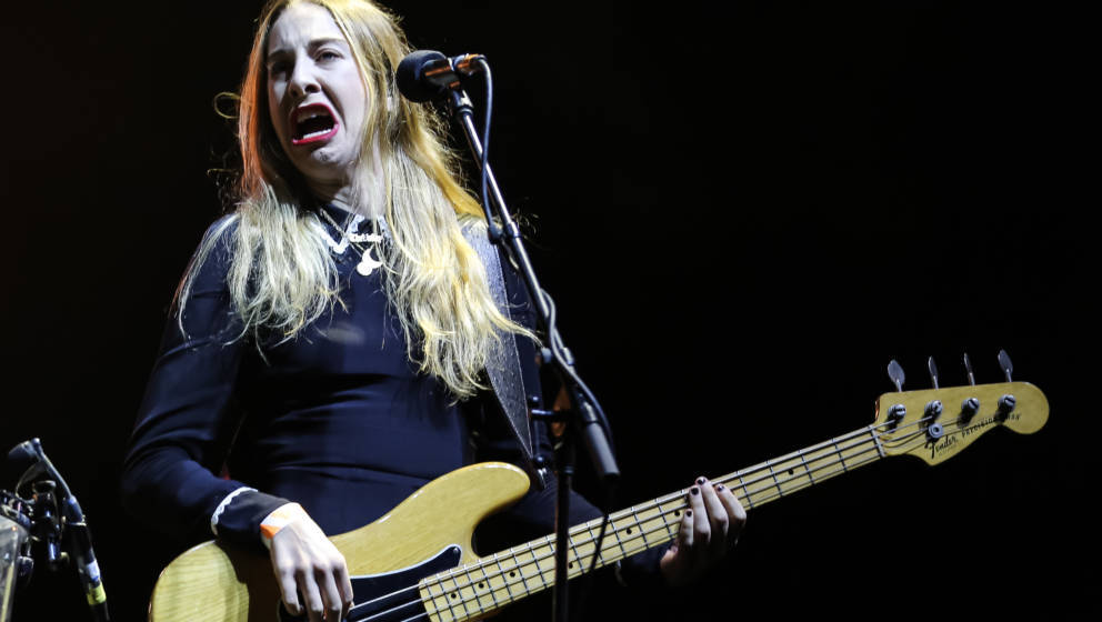 LOS ANGELES, CA - AUGUST 24:  Musician Este Haim of Haim performs during day 2 of FYF Fest at Los Angeles Sports Arena on Aug