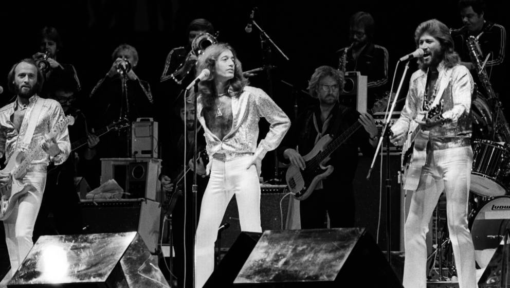 NEW YORK - SEPTEMBER 7: Maurice Gibb, Robin Gibb and Barry Gibb of The Bee Gees performing on stage at Madison Square Garden