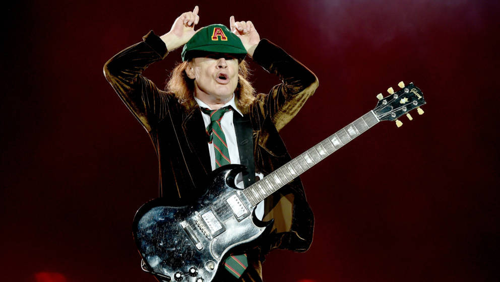 LOS ANGELES, CA - SEPTEMBER 28:  Musician Angus Young of AC/DC performs at Dodger Stadium on September 28, 2015 in Los Angele