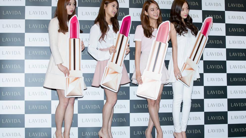 SEOUL, SOUTH KOREA - FEBRUARY 03:  (L-R) Youngji, Gyuri, Seungyeon and Hara of South Korean girl group KARA attend the launch