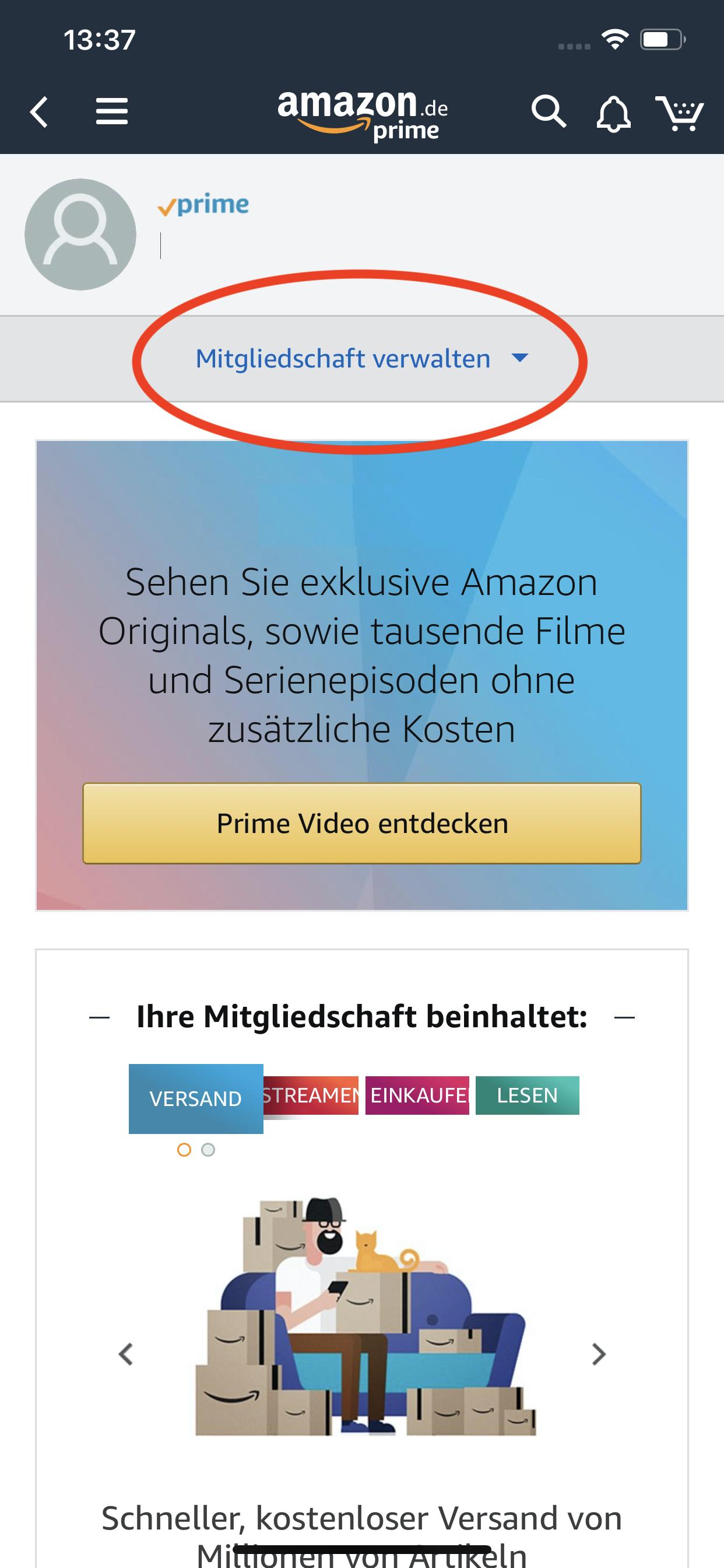 Amazon Prime Video:Abo kündigen in der App oder im mobilen Browser