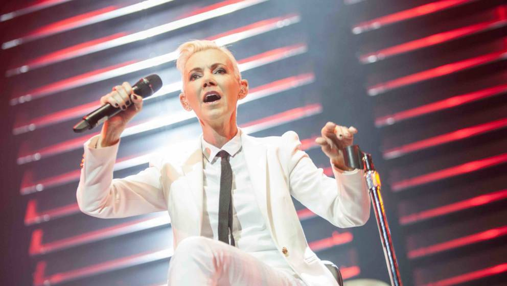 COLOGNE, GERMANY - JUNE 24: Marie Fredriksson of Roxette performs onstage during their '30th Anniversary Tour' at the Lanxess