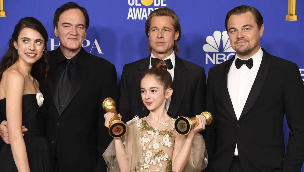 """Once Upon A Time In Hollywood"" räumte bei den Golden Globes ab: Margaret Qualley, Quentin Tarantino, Brad Pitt, Julia Butters und Leonardo DiCaprio"