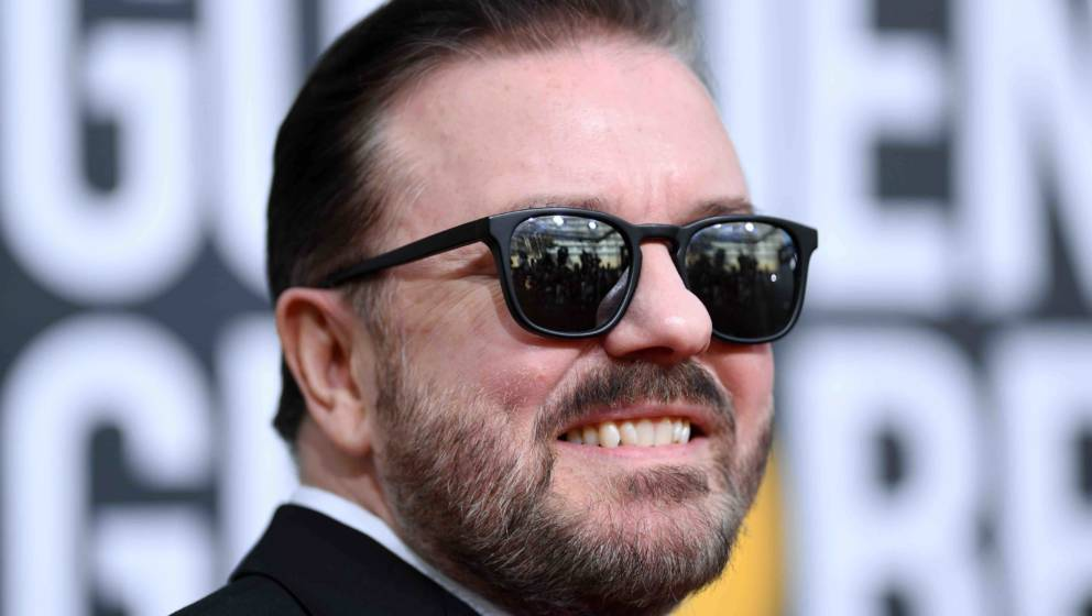 British host Ricky Gervais arrives for the 77th annual Golden Globe Awards on January 5, 2020, at The Beverly Hilton hotel in