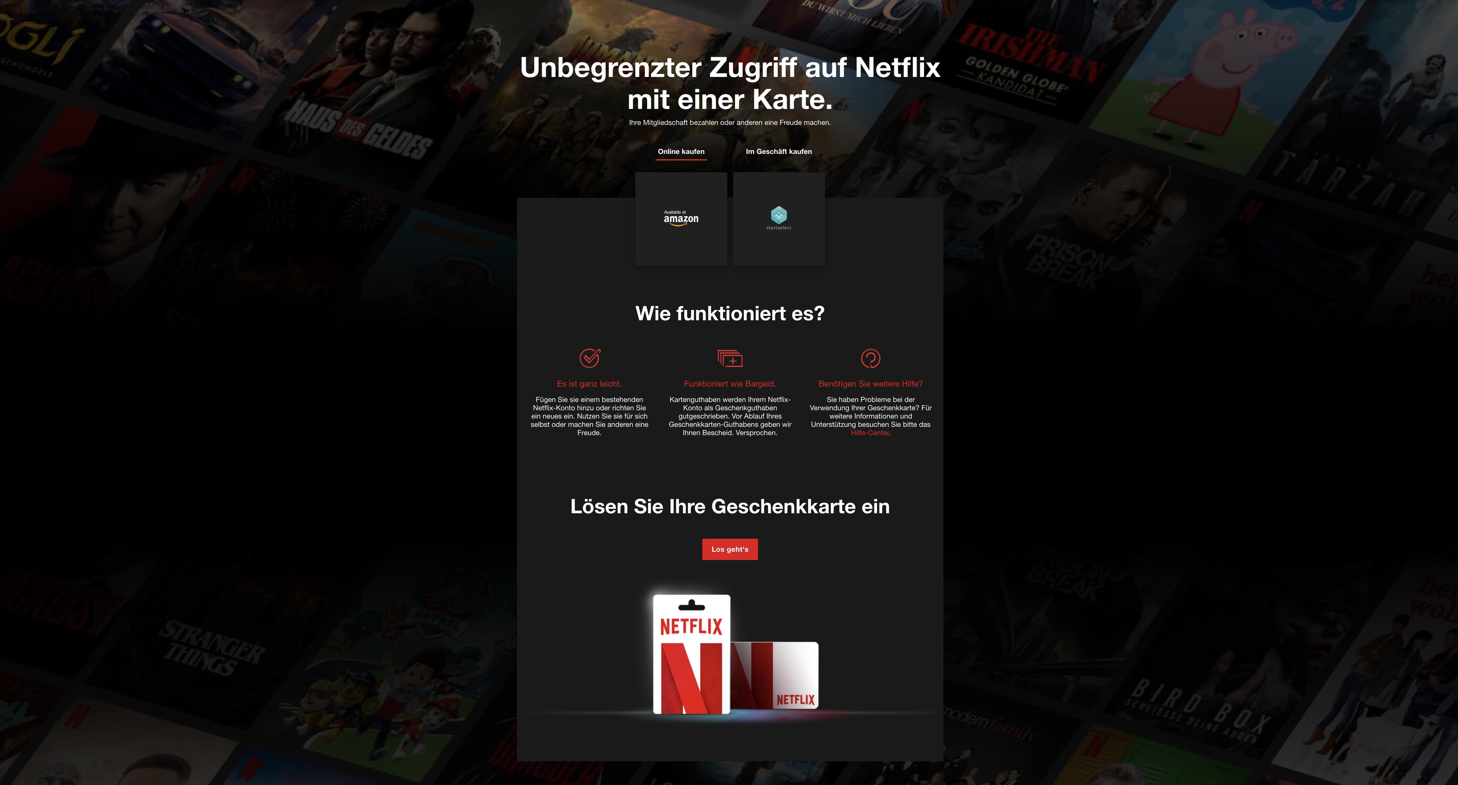 www netflix einlösen