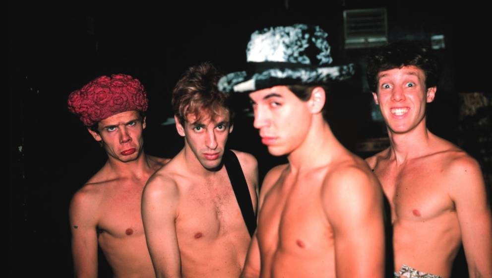 MINNEAPOLIS, MN - JANUARY:  Rock band Red Hot Chili Peppers (L-R) Flea, Hillel Slovak, Anthony Kiedis, Jack Irons pose for a
