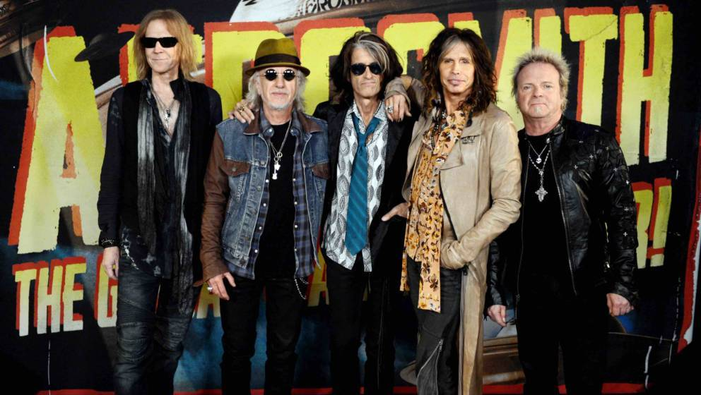 of Aerosmith pose at the press junket to announce their new album 'Music From Another Dimension' and upcoming dates for their