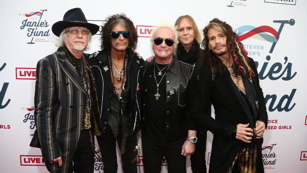 LOS ANGELES, CA - FEBRUARY 10:  (L-R) Brad Whitford, Joe Perry, Joey Kramer, Tom Hamilton and Steven Tyler of Aerosmith atten