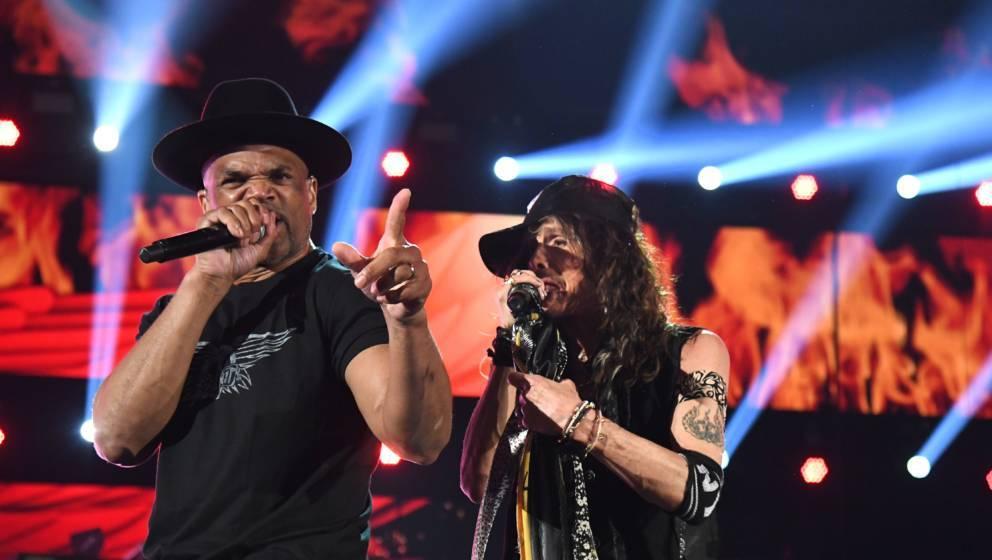 Darryl McDaniels von Run-ìD.M.C. und Steven Tyler von Aerosmith bei den Grammys