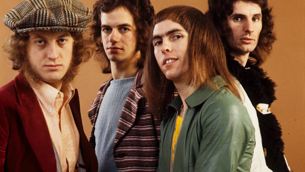 AMSTERDAM, NETHERLANDS - JANUARY 01: Slade posed in Amsterdam, Netherlands in 1971 L-R Noddy Holder, Jim Lea, Dave Hill, Don
