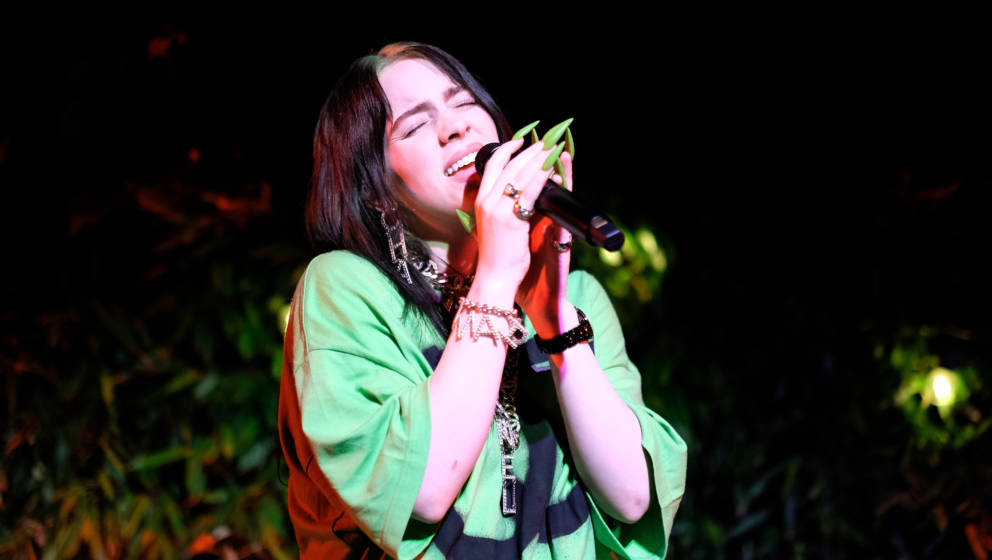 SHELTER ISLAND, NEW YORK - JULY 20: Billie Eilish, performing at the event, wears a printed black and white jumpsuit, Look 56