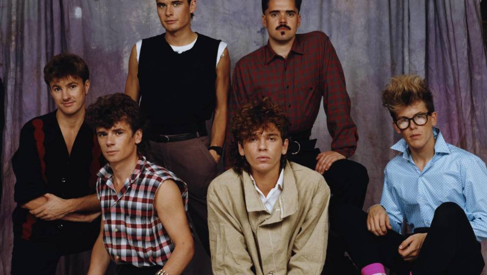 Australian rock band INXS, circa 1983, not in order: guitarist/saxophonist Kirk Pengilly, singer Michael Hutchence, drummer J