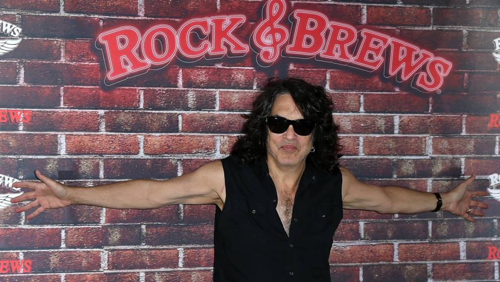BUENA PARK, CA - JUNE 10:  Paul Stanley of KISS selects the Rock And Roll Fantasy Camp offer winner at Rock & Brews on Ju