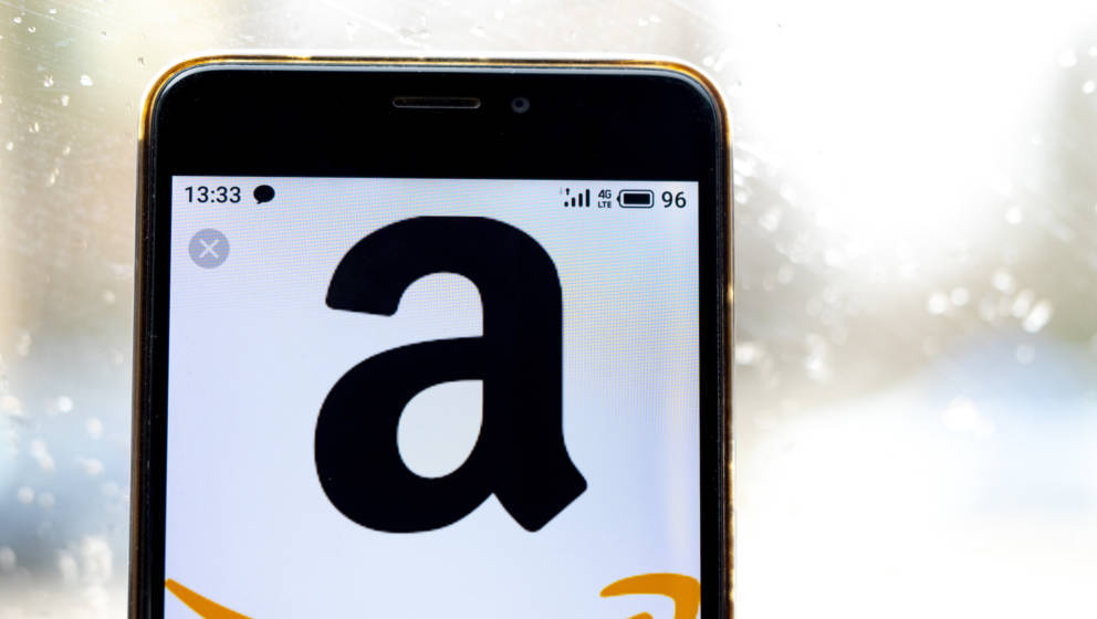 UKRAINE - 2020/02/25: In this photo illustration the Amazon logo is seen displayed on a smartphone. (Photo Illustration by Ig