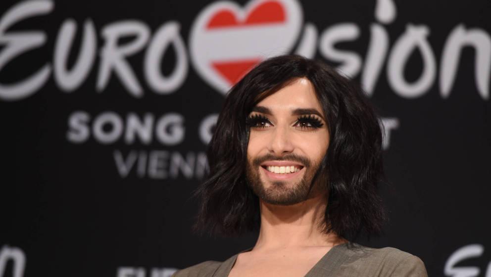 Conchita Wurst bei der Presse Konferenz für den Eurovision Song Contest 2015 in Wien