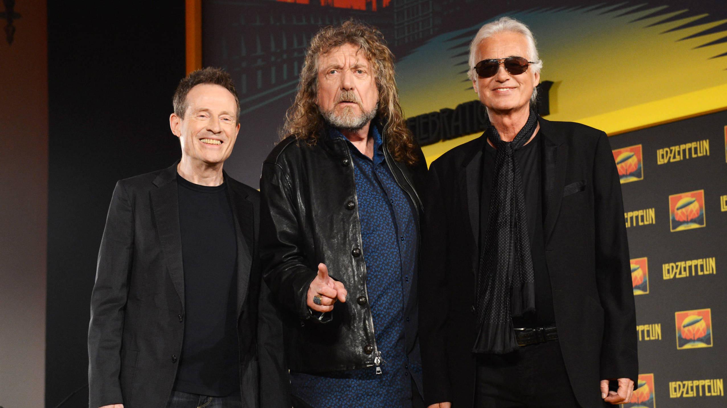 """John Paul Jones, Robert Plant und Jimmy Page bei der """"Celebration Day""""-Pressekonferenz"""