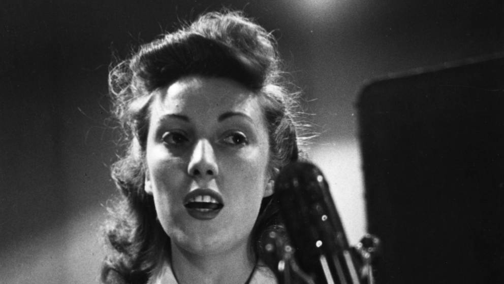 9th May 1945:  British entertainer Vera Lynn making a broadcast to the country's troops from a radio station. Original Public