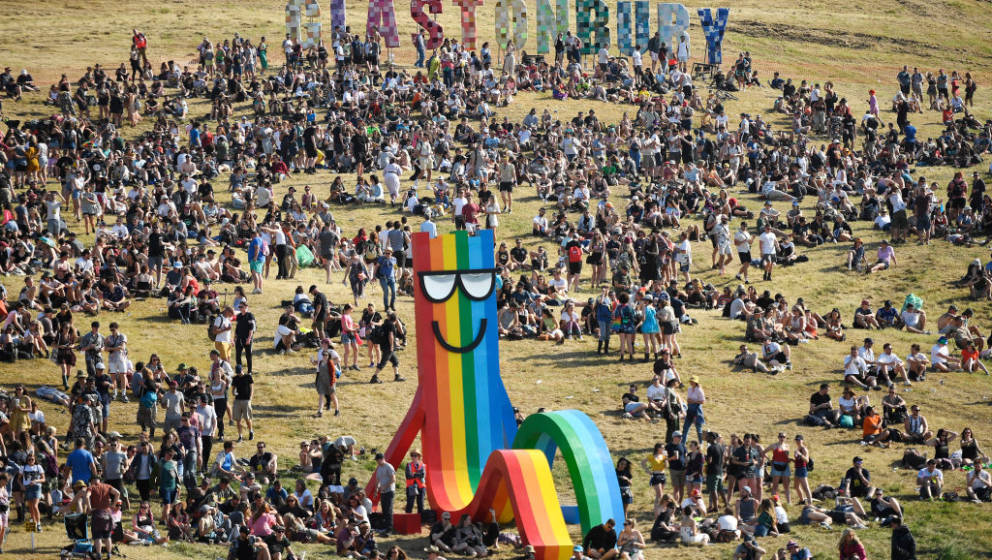 GLASTONBURY, ENGLAND - JUNE 26: General view of the festival site during day one of Glastonbury Festival at Worthy Farm, Pilt