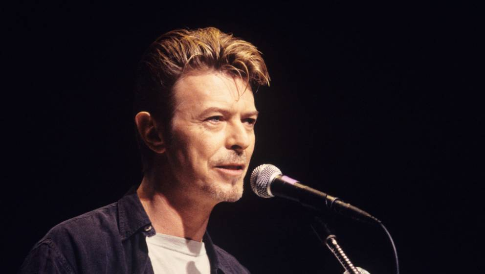 David Bowie speaking at Alice Tully Hall during a CMJ Conference in New York City on September 8,1995.