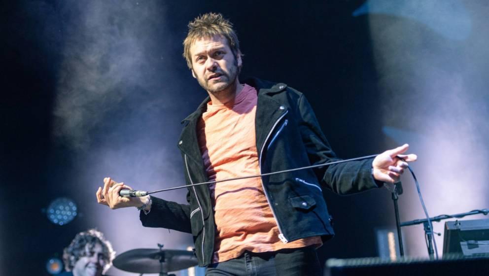 Tom Meighan bei einem Auftritt in Edinburg, Schottland, 2018.