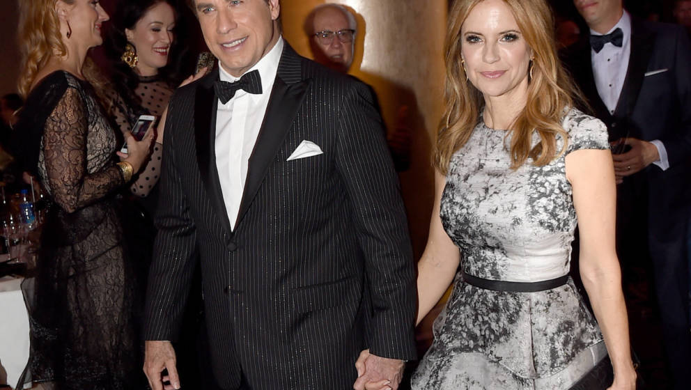 John Travolta and Kelly Preston 2017 bei den Golden Globes.