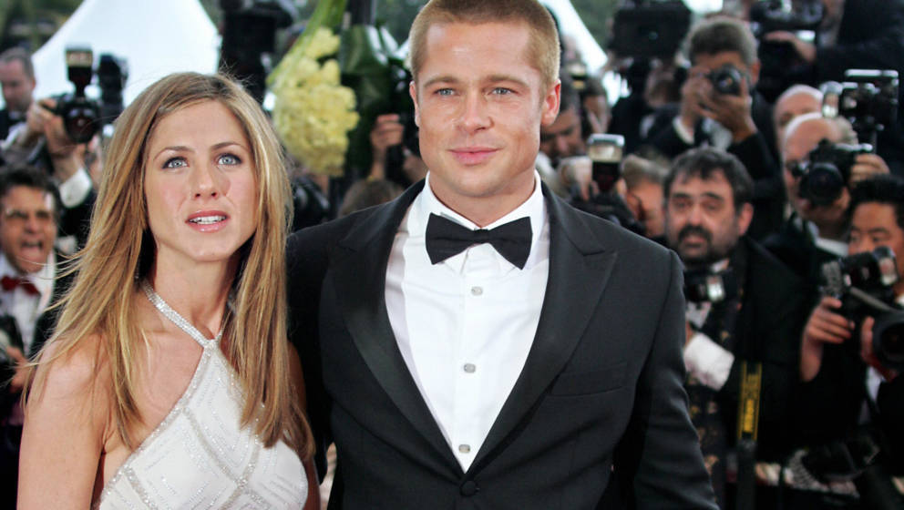 CANNES, France:  US actor Brad Pitt and his wife Jennifer Aniston arrive to attend the official projection of US director Wol