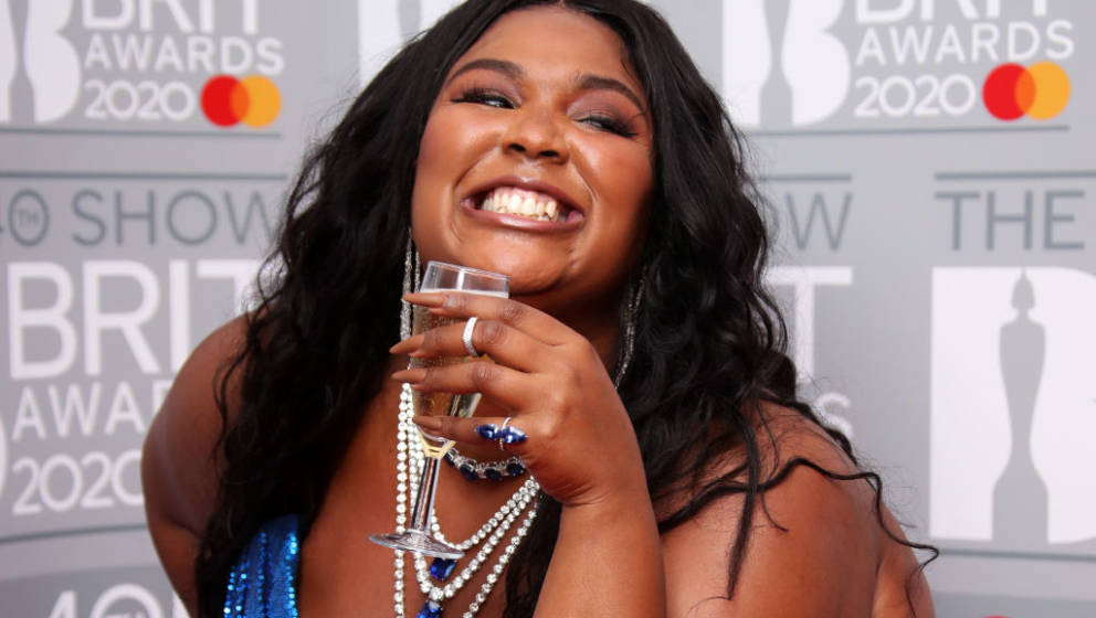 LONDON, ENGLAND - FEBRUARY 18: (EDITORIAL USE ONLY) Lizzo poses in the winners rooms at The BRIT Awards 2020 at The O2 Arena
