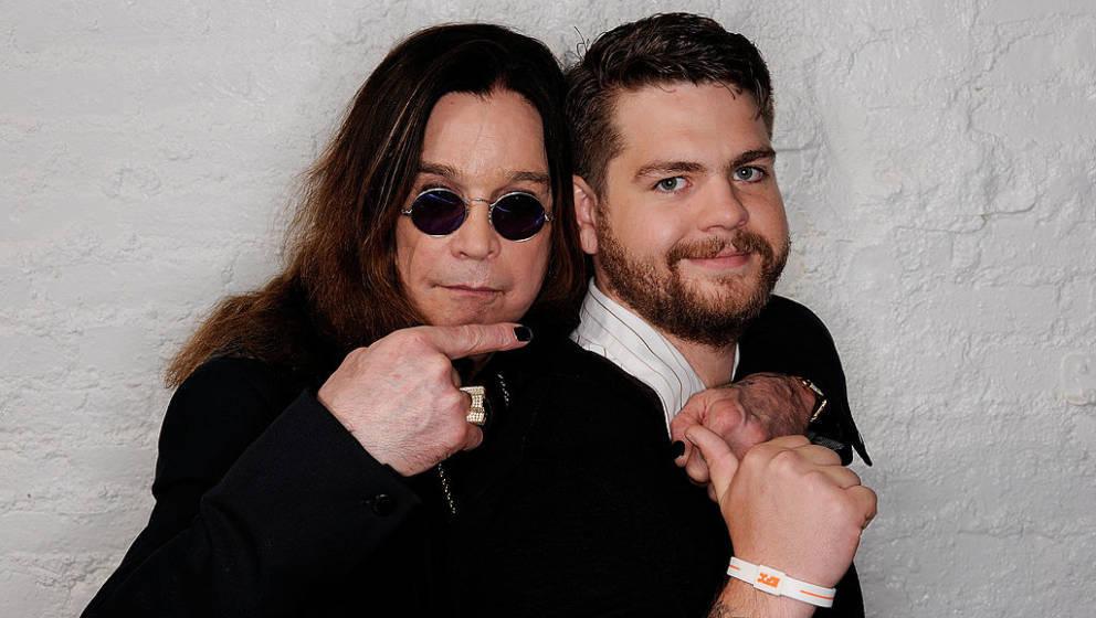 NEW YORK, NY - APRIL 25:  (L-R) Ozzy Osbourne and son, producer Jack Osbourne visit the Tribeca Film Festival 2011 portrait s