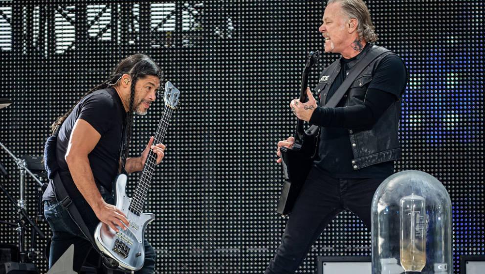 TRONDHEIM, NORWAY - JULY 13: Robert Trujillo (L) and James Hetfield of Metallica performs at Granåsen on July 13, 2019 in Tr
