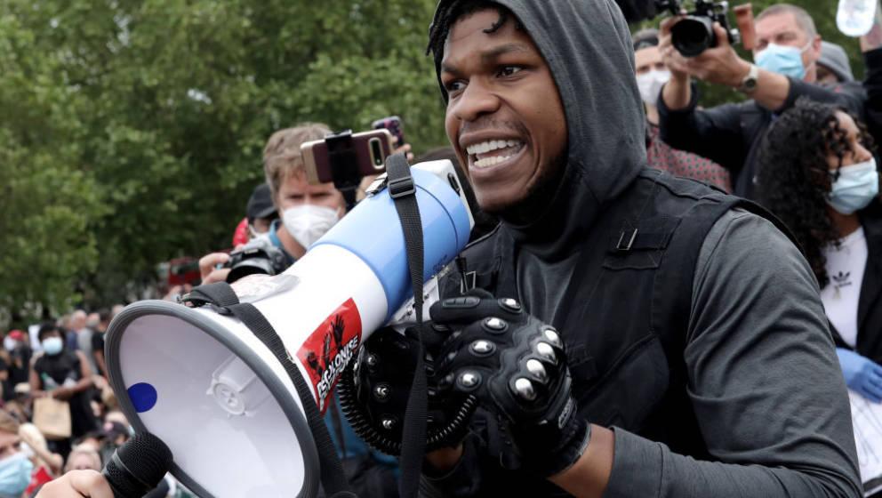 LONDON, ENGLAND - JUNE 03: Actor John Boyega speaks to the crowd during a Black Lives Matter protest in Hyde Park on June 3,