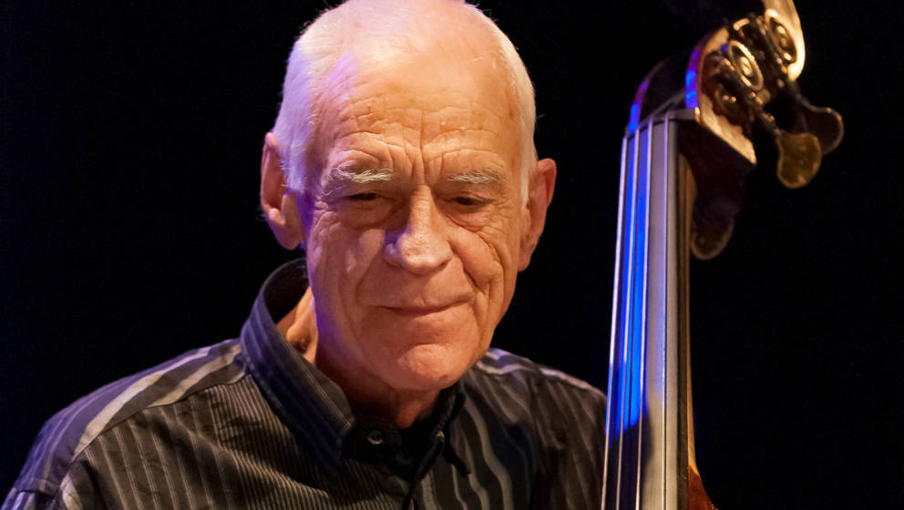 American jazz musician Gary Peacock (1935-2020) performs on upright acoustic bass at 'A Tribute to Paul Motian' at Symphony S