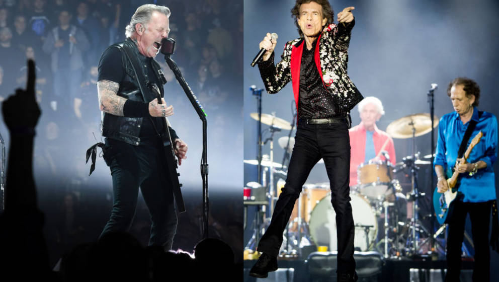 MIAMI, FLORIDA - AUGUST 30: (L-R) Ronnie Wood, Mick Jagger, Charlie Watts and Keith Richards of The Rolling Stones perform on