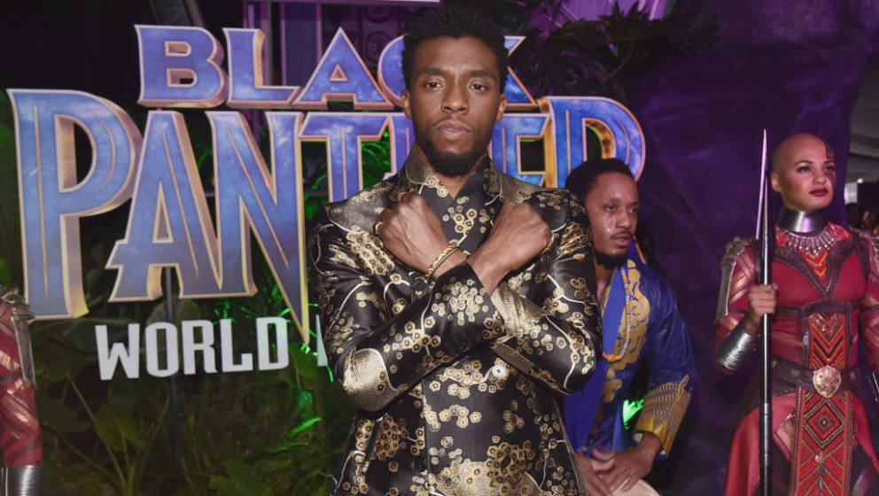 HOLLYWOOD, CA - JANUARY 29:  Actor Chadwick Boseman at the Los Angeles World Premiere of Marvel Studios' BLACK PANTHER at Dol