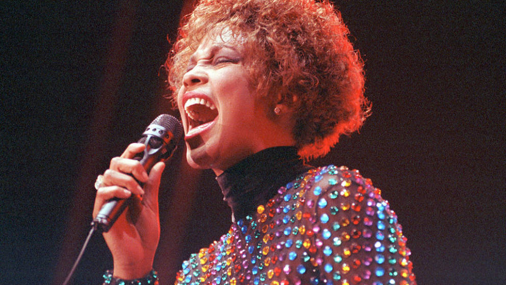 Whitney Houston performing on stage at Wembley Arena, London, 03 September 1991. (Photo by Ian Dickson/Redferns)