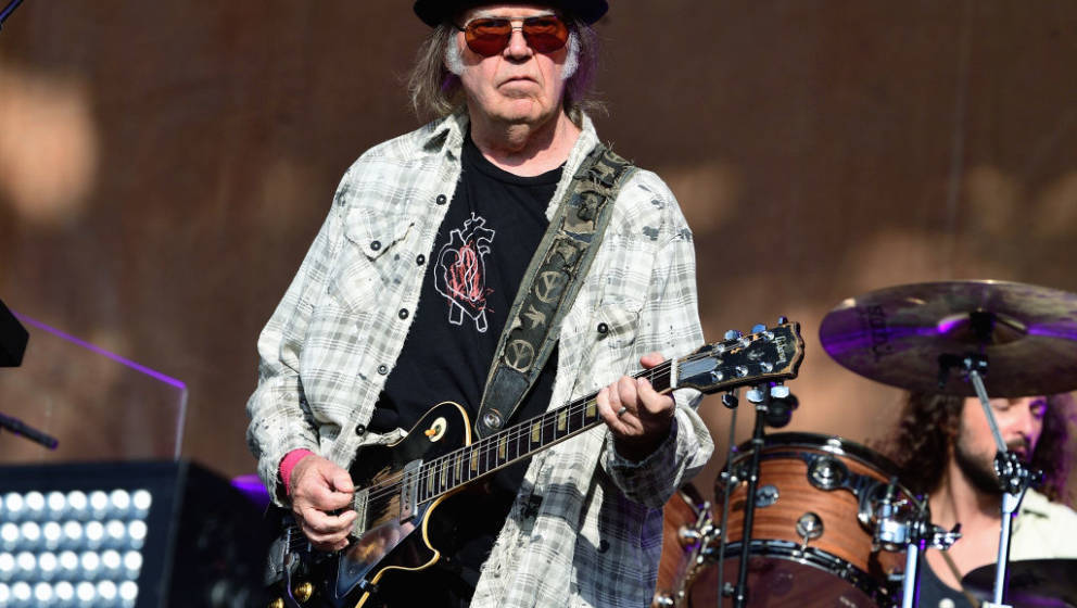 LONDON, ENGLAND - JULY 12: Neil Young performs on stage at Barclaycard Presents British Summer Time Hyde Park at Hyde Park on