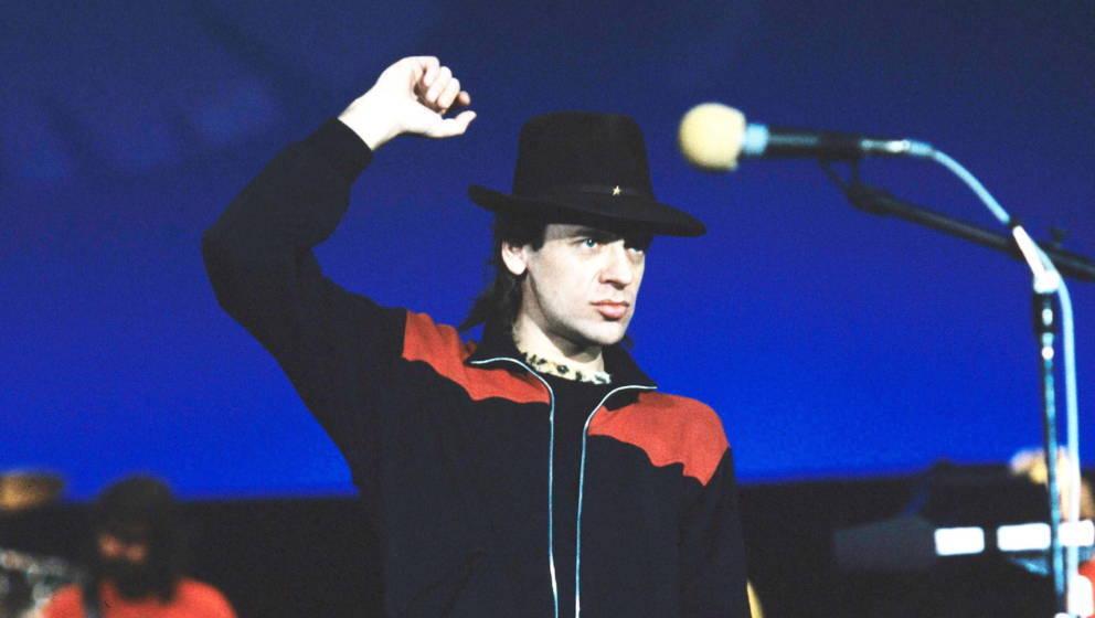 Auftritt von Udo Lindenberg mit seinem Panikorchester im Ostberliner Palast der Republik, aufgenommen im Oktober 1983